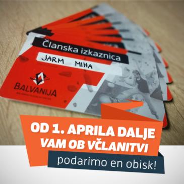 Od 1. aprila dalje vam ob včlanitvi v ŠD Balvanija podarimo en obisk!