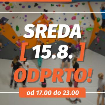 SREDA 15.8. – ODPRTO