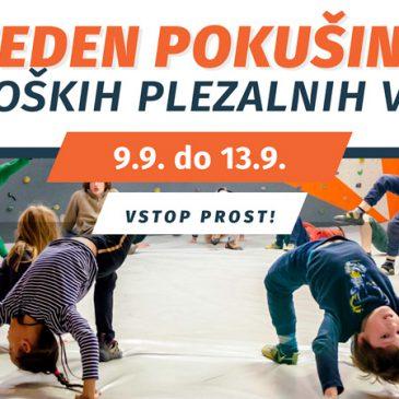 Teden pokušine otroških plezalnih vadb! 9.9. do 13.9